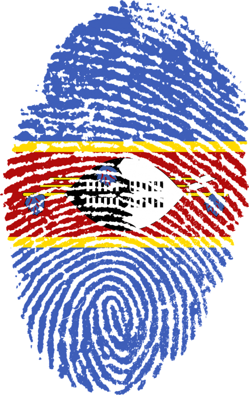 swaziland flag fingerprint