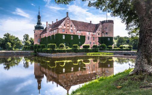 sweden moated castle southern sweden