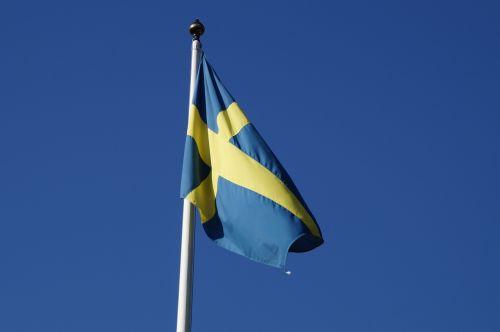 sweden flag blow