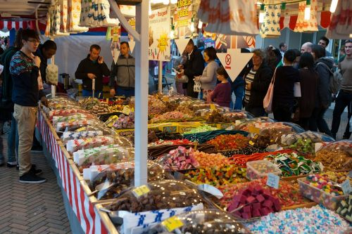 sweet stall street market colourful