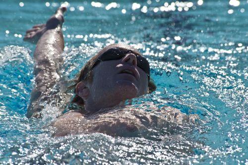 swimmer backstroke pool