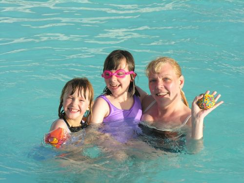 swimming mother and daughters pool