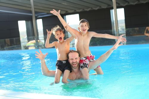 swimming pool children father