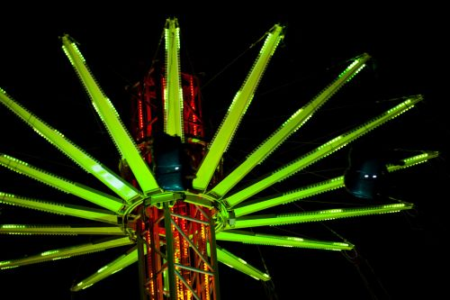Swing Carousel At Night