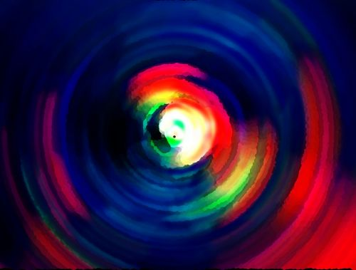 Swirl Of Rich Colour With Blue