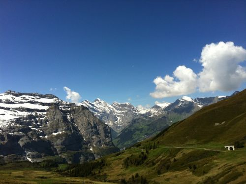 swiss jungfrau snow mountain