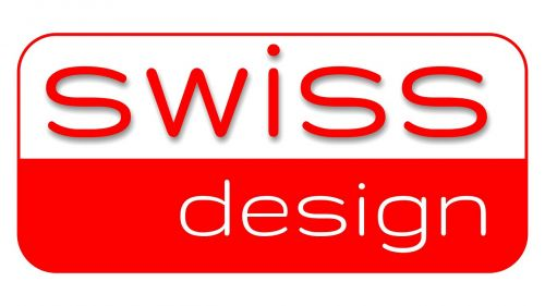 swiss design lettering red