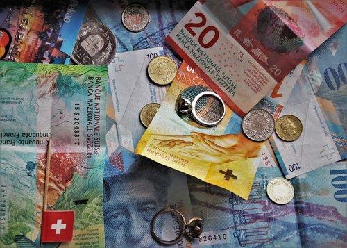 swiss francs  euro banknotes  money