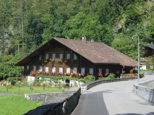 switzerland wooden house wood