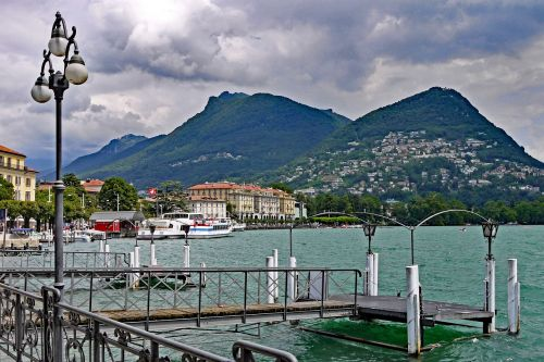 switzerland lugano lake promenade