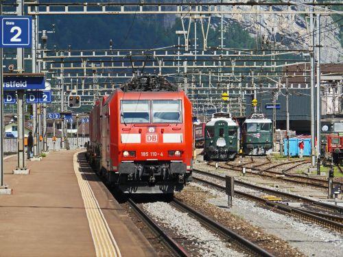 switzerland train station in erstfeld track climb