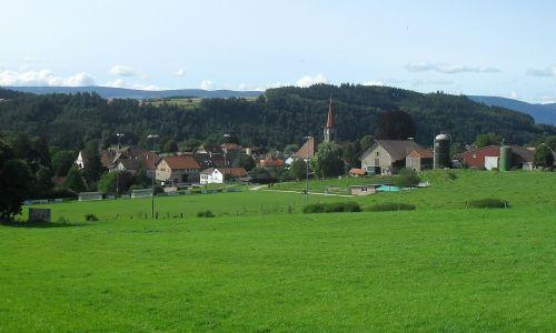 Šveicarija,donneloye,kraštovaizdis,vaizdingas,dangus,debesys,kalnai,miškas,medžiai,miškai,slėnis,kaimas,pastatai,architektūra,laukai,žolė,augalai,tvartas,silosas,bažnyčia,ūkis,kaimas,Šalis,kaimas,gamta,lauke,vasara,pavasaris