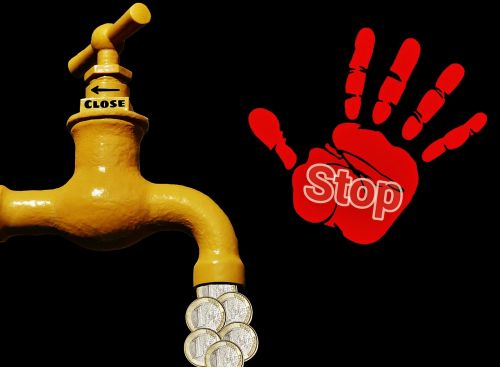 symbolic to turn money faucet stop