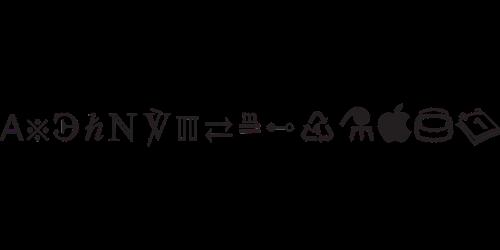 symbols font glyphs