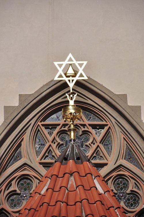 synagogue  prague  jewish star