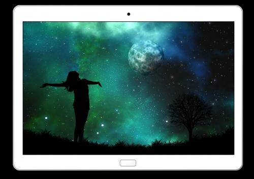 tablet moon woman