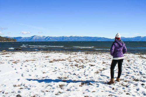 tahoe lake winter girl
