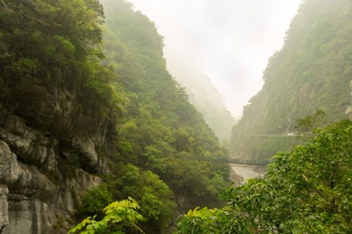 taiwan suspension bridge landscape