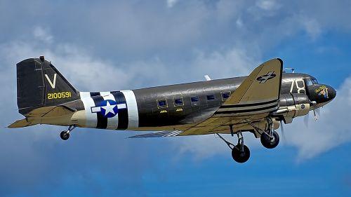 take-off douglas c-47 dakota cargo plane