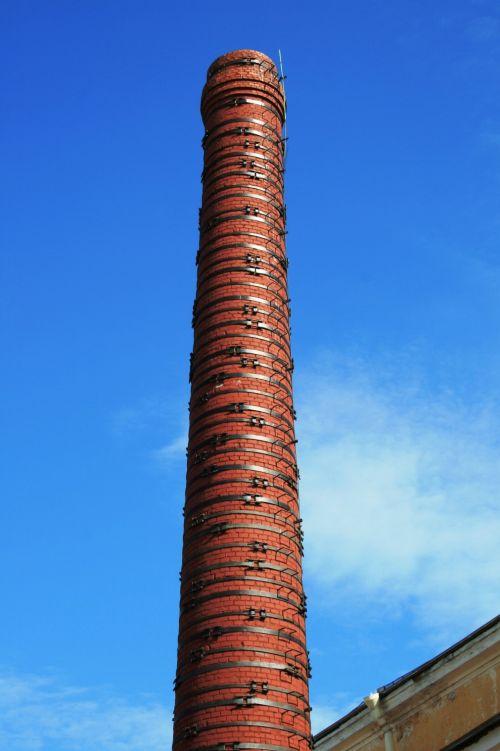 Tall Red Brick Smokestack