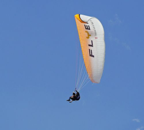 tandem flight paragliding bird's eye view