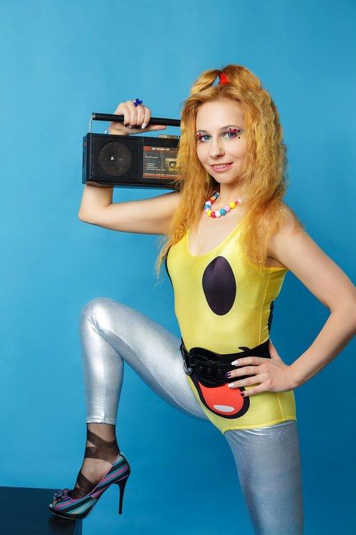 tape recorder  aerobics  80s