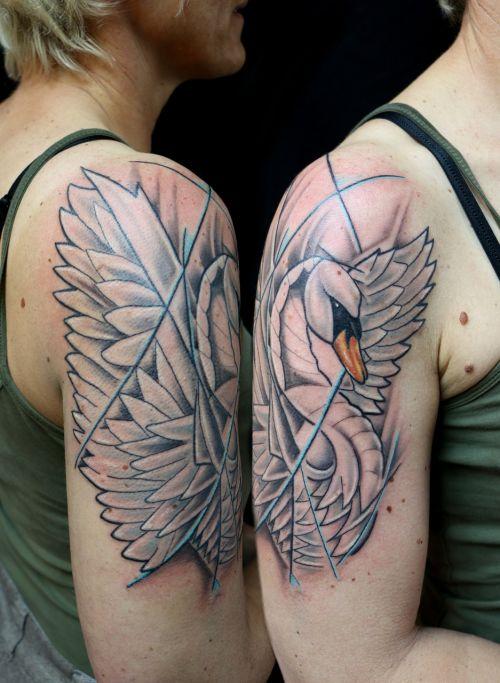 tattoo swan shoulder