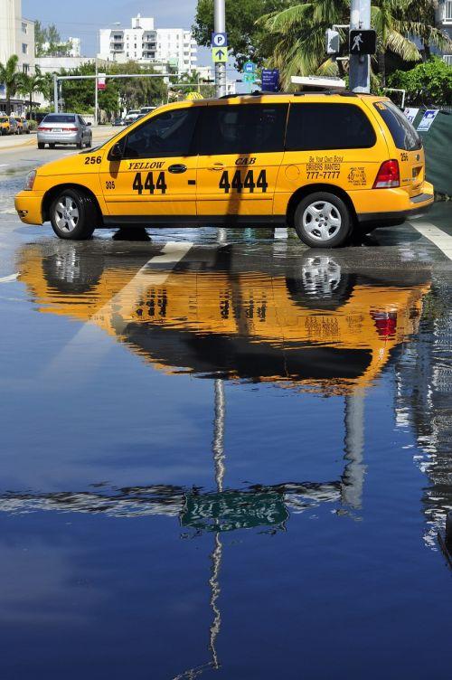 taxi reflection miami