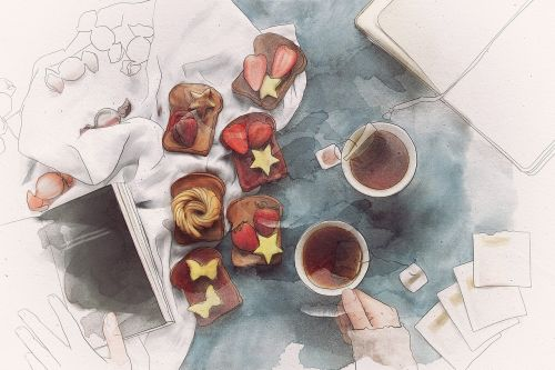 tea toast fruit