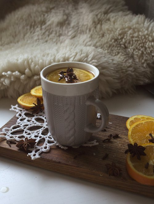 tea  mug  oranges