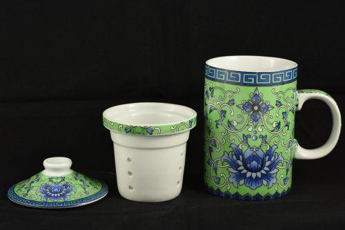 arbatos rinkinys,puodelis,rytietiškas,taurė,arbatos puodelis,balta,žalias,porcelianas,lapeliai,tepimas,mėlynas,dangtelis,atsargos