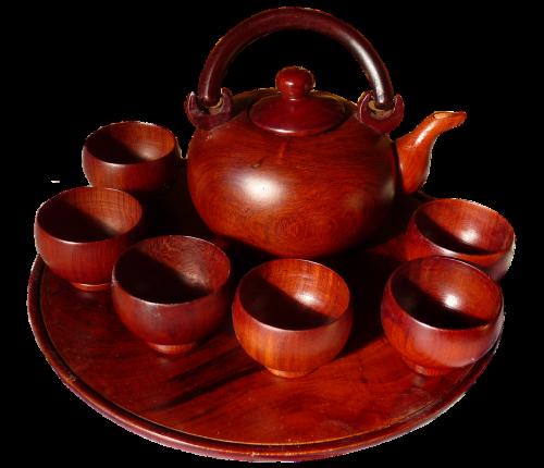 tea set mahogany wood