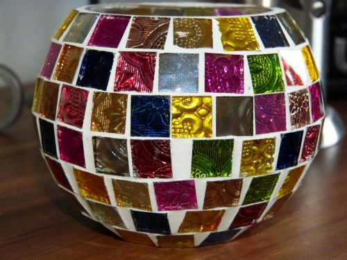 tealight lantern colorful glass