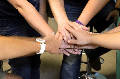 team together hands