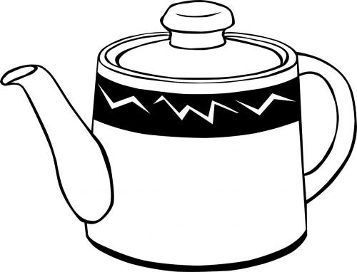 teapot vessel black and white
