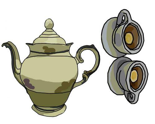 arbata, arbata, vakarėlis, citrina, klipas, menas, tema, arbata su citrinine arbata