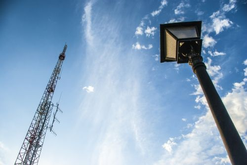 technology street lamp contrast