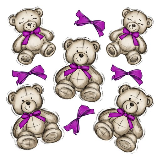 teddies  bears  ties
