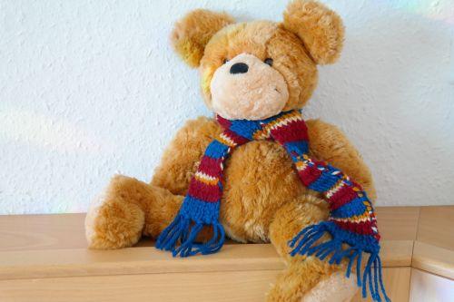 meškiukas,turėti,minkštas žaislas,Teddy,žaislai,linksma,mielas,ruda,šviesiai ruda,kailis,skara