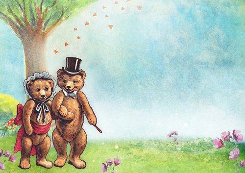 teddy bears  tree  meadow