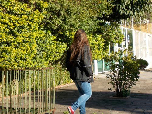 teenager girl walk