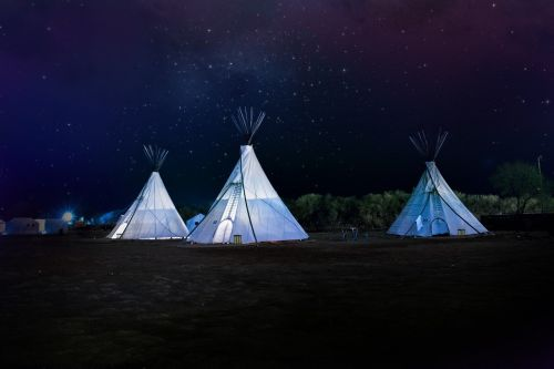 teepee night sky stars nature
