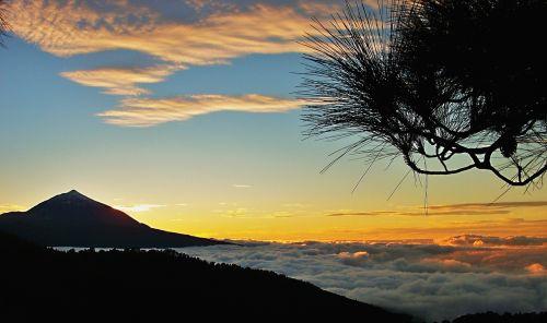 teide,Taido vaizdas,vakaras,saulėlydis,jūros rūkas,nacionalinis parkas teide,Kanarų salos,Kanarų sala,Tenerifė,vakarinis dangus
