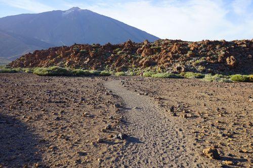 teide,toli,kelias,smėlis,dykuma,lava,lavos srautas,bazaltas,Teide nacionalinis parkas,Tenerifė,Kanarų salos,skaityti cañadas,kalnas,vulkanas,aukščiausiojo lygio susitikimas,pico del teide,teyde,3718 m,3718 metrai,3718,akmeninė dykuma,mėnulio kraštovaizdis,sausas,karštas