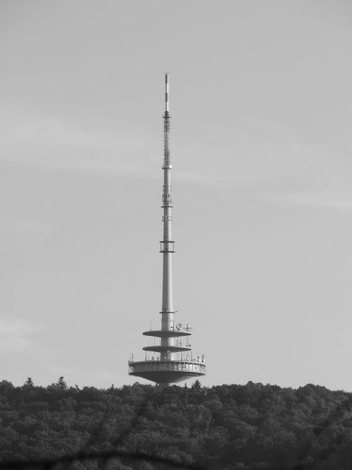 telecommunication tower stuttgart woman's head