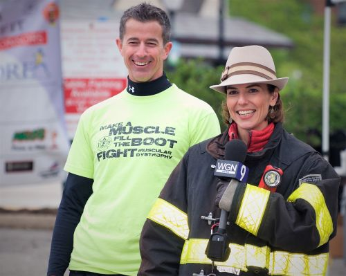 television reporter fireman event