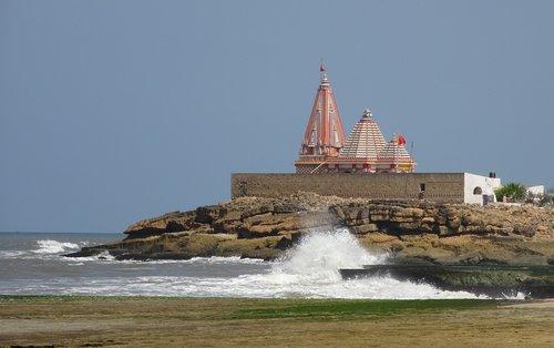 temple  seaside  waves