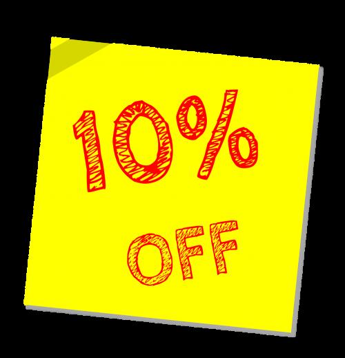 ten percent off discount sale
