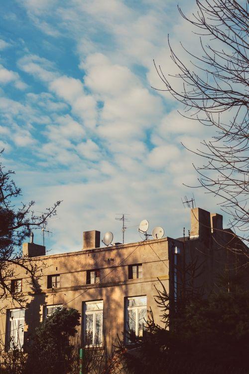 Būstas,namas,pastatas,mėlynas,dangus,lodz,Lenkija,Lenkija