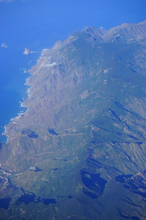 tenerife aerial view anaga mountains